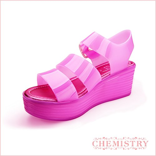 Chemistry Women's Jelly Platform Wedge Heel Sandals Adjustable Strap Upper Low Top Shoes,Pink,10 B(M) US by Chemistry (Image #3)