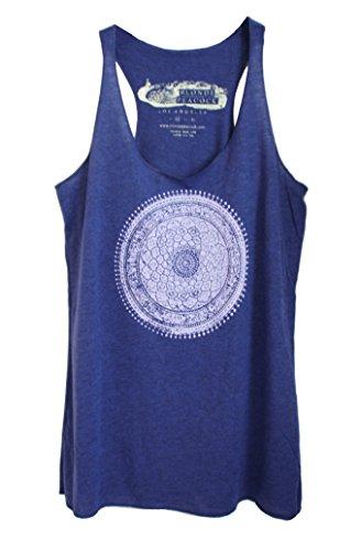- Blonde Peacock Women's Blue Indian Mandala Loose Fit Racerback Yoga Tank Top-Small-Indigo