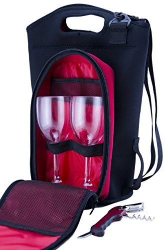 Neoprene Wine & Drink Tote incl. Poly Carbon Glassware, Corkscrew & 2 x 3 Liter BYO Disposable Bladders. Geckored Insulated Purse / Bag For Taking Your Favorite Drinks Anywhere - Multiple Uses. (Purse With Wine Spout compare prices)