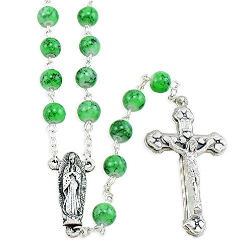 Lady of Guadalupe Rosary with Green Glass Beads