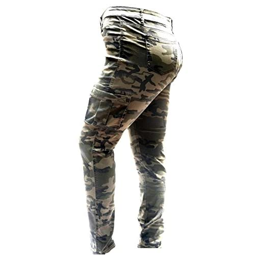 968acdc420c chic IQ WOMENS PLUS SIZE Stretch Distressed Ripped Camo Camouflage Skinny  JEANS PANTS