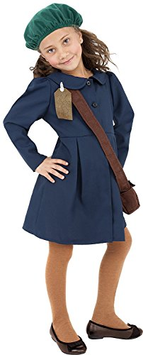 World War 1 Children's Costumes (Smiffy's World War II Evacuee Girl Costume, Dress, Hat and Bag, Ages 7-9, Size: Medium, Color: Blue, 38651)