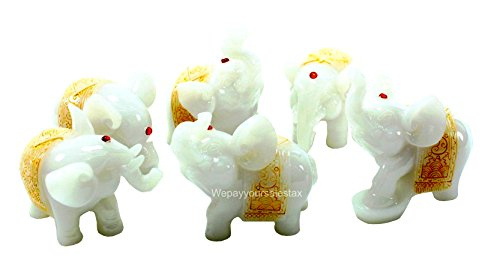 Feng Shui Set of 6 Jade White Elephant Statues Wealth Lucky Figurines Home Decor Housewarming Congratulatory Gift US Seller