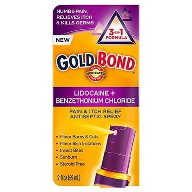Gold Bond Pain & Itch Relief Antiseptic Spray with 4% Lidocaine (Pack of 2) - Lidocaine Spray