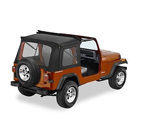 Sunrider Black Denim - Bestop 51698-15 Black Denim Sunrider Complete Replacement Soft Top with Clear windows; No doors included for 1976-1995 Jeep CJ-7/Wrangler