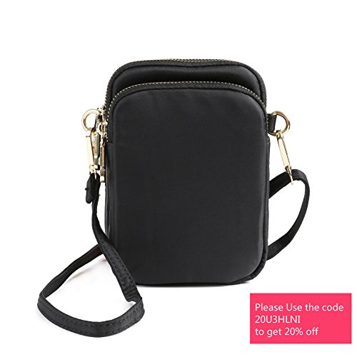 HAIDEXI Nylon Small Crossbody Bags Cell Phone Purse Smartphone Wallet For Women ABLACK