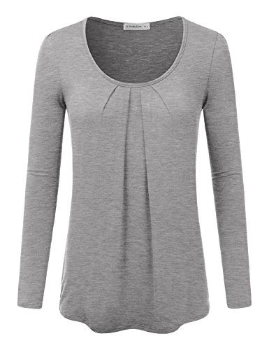 JJ Perfection Women's Pleated Scoop Neck Long Sleeve T-Shirt Blouse Top HEATHERGREY (Long Sleeve Draped Neck)