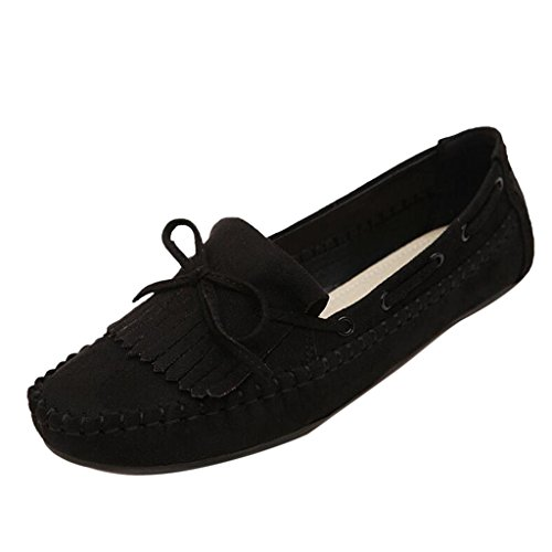 Loafer Bowknot Flats Black Casual Women's Binying OtEwZqg0nv