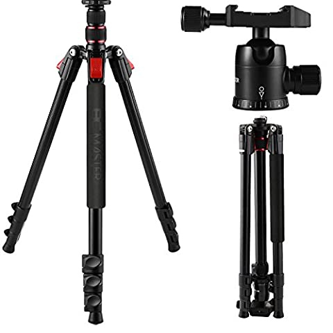 BC Master Camera Tripod, 75-inch For Dslr Camera Sturdy Lightweight Aluminum Alloy TA333 with Carrying Bag, Ball Head, Quick Release Plate for Canon Nikon Youtube, Weight: 3.17lbs/1.44Kg