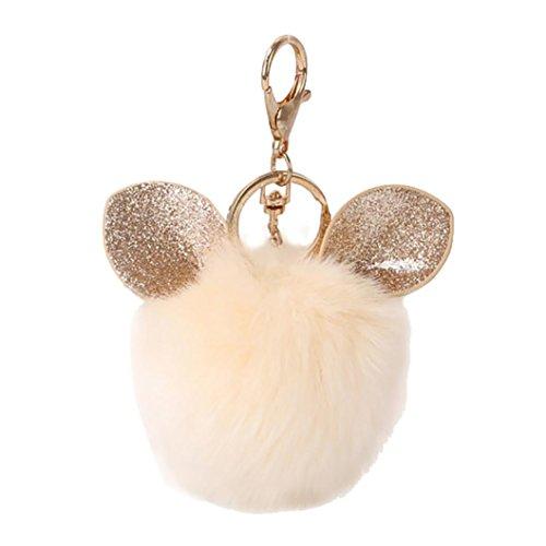 Sunfei Ear Rabbit Fur Ball Fox Keychain Bag Plush Car Key Ring Car Key Pendant 8cm (Beige)
