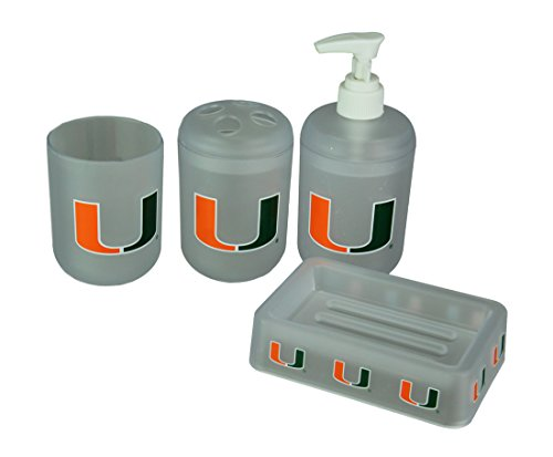 Belle View Inc. Plastic Bathroom Accessory Sets Miami Hurricanes Frosted Finish 4 Piece Bath Set 5 X 1.25 X 3.38 Inches Clear by Belle View Inc.