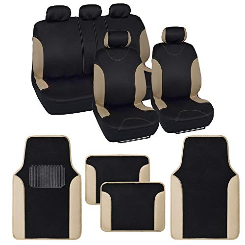 BDK Combo Double Trim Car Seat Covers (2 Front 1 Bench) Auto Carpet Floor Mats (4 Set) with Heavy Protection Sleek Graphic Two Tone Fresh Design All Protective - Beige Accent