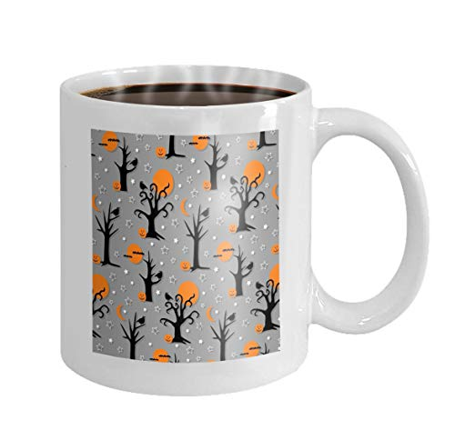 Coffee mug, Funny Coffee Mug Gift spooky halloween trees birds pattern Halftone