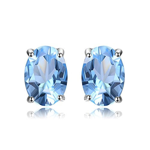 JewelryPalace Birthstone Gemstones Natural Blue Topaz Stud Earrings For Women 925 Sterling Silver Stud Earrings For Girls Oval Cut