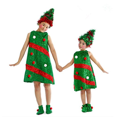Mini Me Costume Ideas (Xmas Gift Toddler Kids Baby Girls Christmas Costume Party Dresses+Hat+Socks Outfit Clothes (Green, 13-15T))