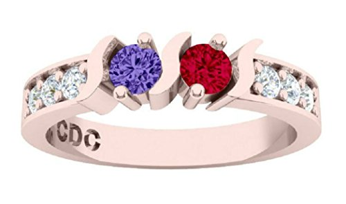NANA S-Bar W/Sides Couple's Ring with His & Hers Simulated Birthstones - 10k Rose Gold - Size 5 by NaNa