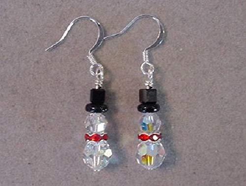 - Silver Swarovski Crystal SNOWMAN EARRINGS Christmas Jewelry Silver plated Snowman Earrings