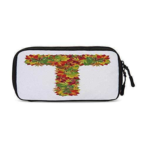 Letter T Practical Data Storage Bag,Uppercase T Name Alphabet Symbol with Bunch of Shaded Fall Oak Tree Leaves Season Decorative for Organizing Cables,One Size