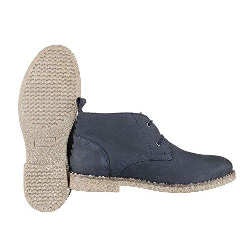 Stiefeletten Herren Leder Schuhe Chelsea Boots Blockabsatz Schnürer Schnürsenkel Ital-Design Boots Dunkelblau