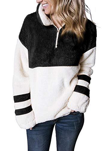BLENCOT Womens Fashion 2019 Quarter Zip Fuzzy Faux Sherpa Color Block Sweatshirt Pullover Outwear Black S