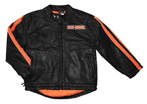 Harley-Davidson Big Boys' Striped Faux Leather Biker Jacket, Black ()