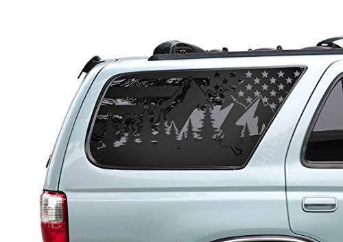 Toyota 4Runner - Outdoor Forest Mountain Scene USA Flag Decals in Matte Black for side windows Fits 1995-2002 - FR24.MA