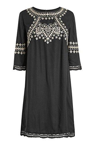 Damen Trompetenärmeln mit next Schwarz Kleid Strukturiertes f1PHqaU