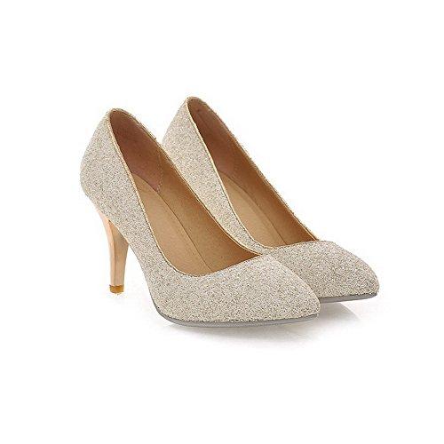 AllhqFashion Damen Hoher Absatz Weiches Material Rein Ziehen Auf Spitz Zehe Pumps Schuhe Weiß