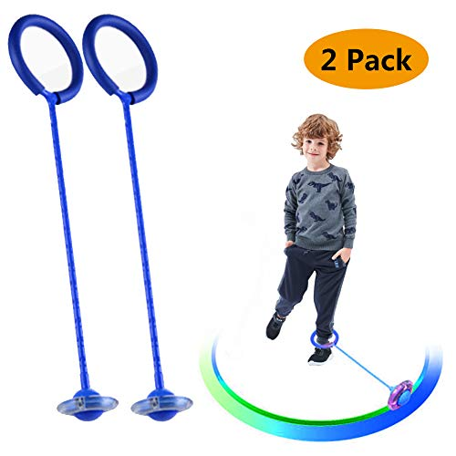 HIbuy Flashing Jumping Ring Children Colorful Ankle Skip Jump Ropes Sport Swing Ball New Bold for Kids Boy Girl Adults (Blue 2 Pack)