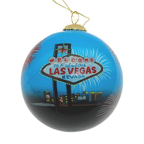 Hand Painted Glass Christmas Ornament - Las Vegas Fireworks