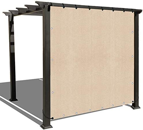 ALION HOME Sun Shade Panel Privacy Screen with Grommets on 4 Sides for Outdoor, Patio, Awning, Window Cover, Pergola or Gazebo -200 GSM 6 x 5 , Banha Beige