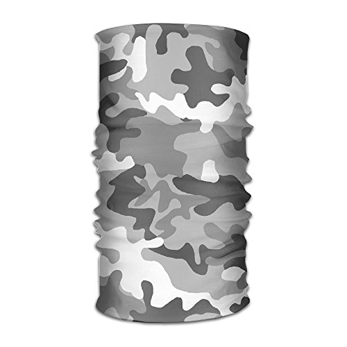 WEEDKEYCAT Military Grey White Camo Headwrap Unisex Multifunction Headwear Polyester Quick Dry Soft Headband Neck Scarf,Luxury Headdress Travel Magic Head Scarf Bandana Mask Neck Gaiter For Men (Military Headwraps)