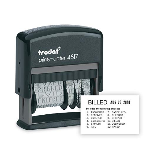 Trodat Printy 4817 Self-inking Economy 12-Message and Date Stamp, Black ()