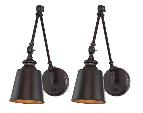Trade Winds Lighting TW90033ORB Set of 2 Transitional 1-Light Swing Arm Wall Lamp, 100 Watts, in Oil Rubbed Bronze