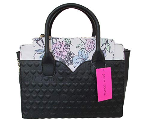 Betsey Johnson Quilted Hearts Betsey Signature Bag In A Bag Floral Pouch Dip Satchel ()
