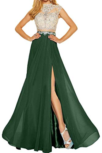 (Meaningful Two Pieces Lace Beaded Prom Dress Long Formal Evening Party Gown Size 6 Dark Green)