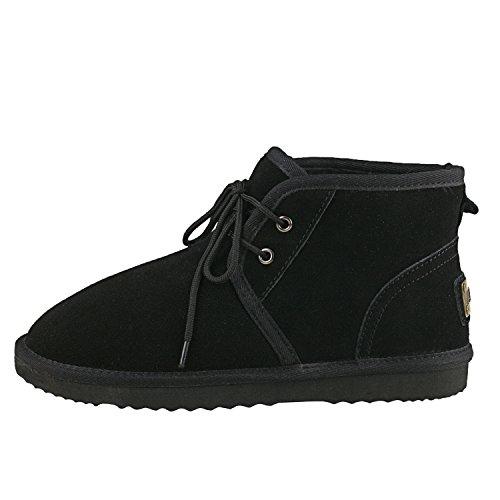 Cordones Planas Forradas Clásicas Para Piel Dad022 Con Invierno Botas Zapatos De Nieve Shenduo Negro Hombre xzZ0n8A