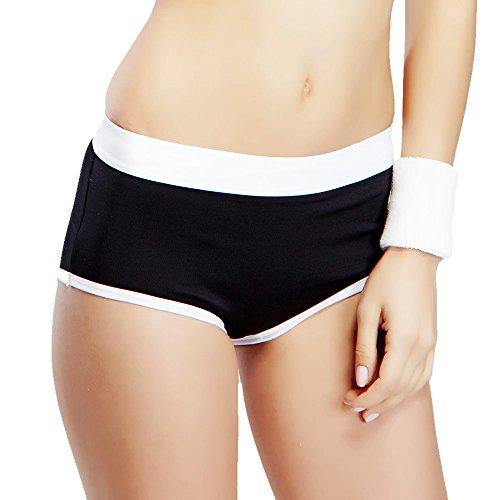 Yvette Women Mid-Rise Sports Boyshort Panties #6040, Blac...