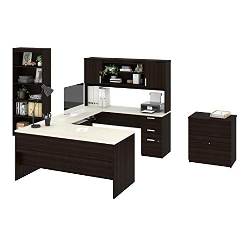 Bestar 3-Piece Set Including a U-Shaped Desk with Hutch, a lateral File Cabinet, and a Bookcase - - Set Desk Bestar