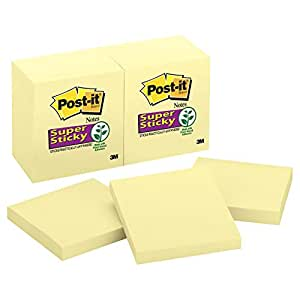 Post-it Super Sticky Notes, 3 in x 3 in, Canary Yellow, 12 Pads/Pack, 90 Sheets/Pad (654-12SSCY)