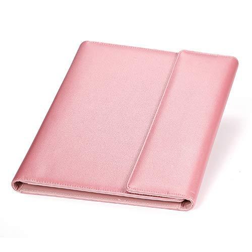 Portfolio/Professional Padfolio, AHGXG Document Holder Business Clipboard Folder Executive Leather Padfolio, Resume Folder for Interview with Legal Pad, Pink
