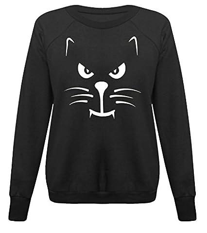 Women Ladies Fashion Cat Face Scary Enough Halloween Sweatshirt Jumper Top (S-M UK 8-10 US 4-6, (Zj Sm)
