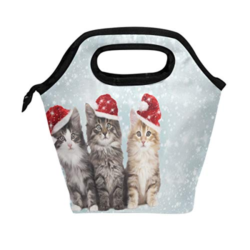 WOZO Christmas Kitten Snowflake Snow Insulated Lunch Bag Tote Bag Cooler Lunchbox Handbag for Outdoors School Girl Boy