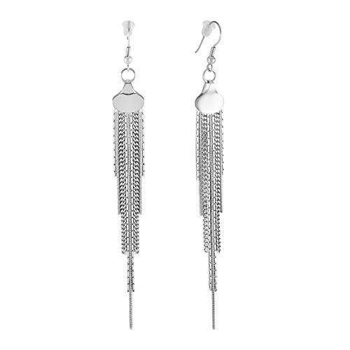 925 Sterling Silver Tassel Earrings Silver Plated Multiple Chain Earrings Long Chain Earrings 10cm Modern Chain Drop Earrings Chain Dangles Silver Earrings, Multi Chain Earrings -