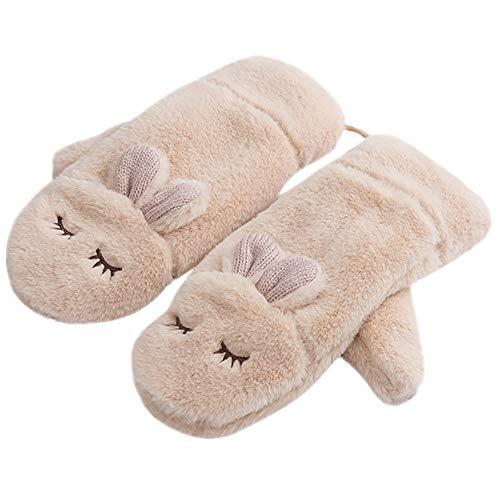 Teresamoon Winter Rabbit Gloves Mittens for Women Fur Warm Wool Glove (Most Wished &Gift Ideas)