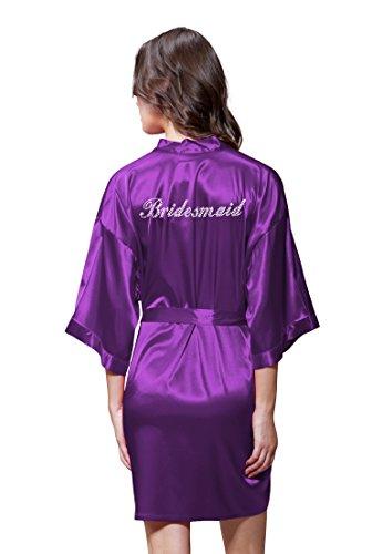 - Turquaz Linen Satin Kimono Rhinestone Bridesmaid Robe (Large, Purple)