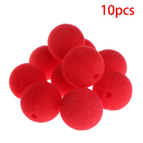 Poity 10Pieces Sponge Ball Clown Nose for Christmas Halloween Costume Party Decoration - Red -