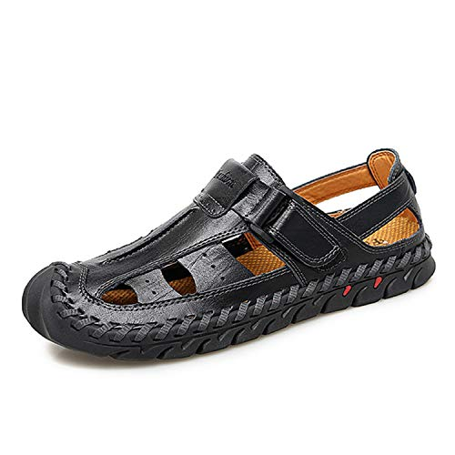 New Men Sandals Genuine Leather Man Roman Sandals Large Size Casual Outdoor Beach Sandals,Black Sandals,8.5