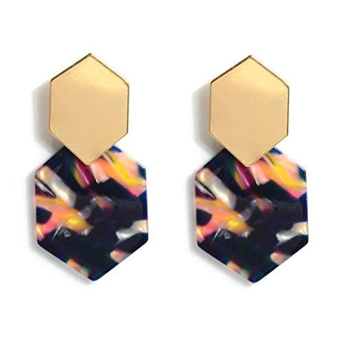 (GUYUEXING Resin Acrylic Geometric Dangle Earrings, Tortoise Shell Earrings for Women Girls (Purple))