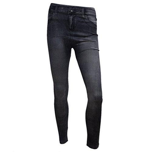 SODIAL Vente chaude Collants maigres elastiques de Denim Jeans noir pour femmes